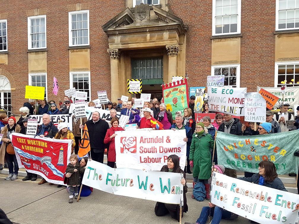 Climate action march outside county hall on April 5th 2019