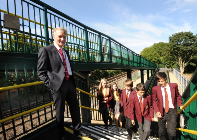 Picture of the opening of the footbridge printed in the Chichester Observer