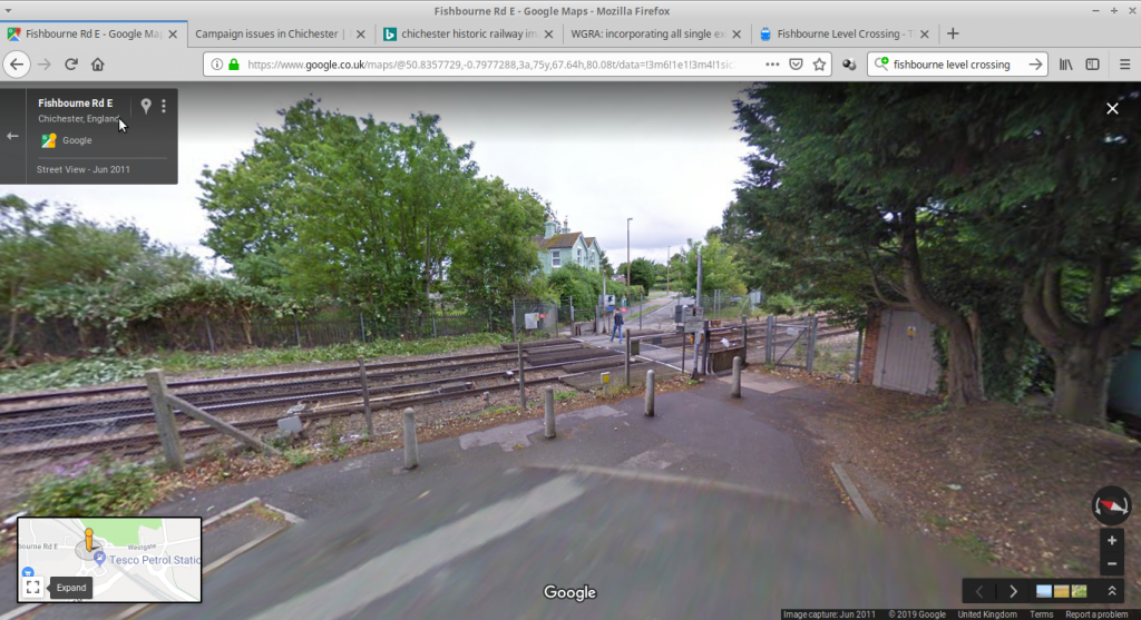 previous level crossing, looking eastwards from the Fishbourne side.