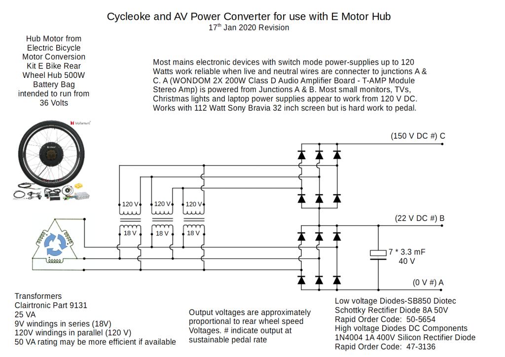 Ebike Hub motor wiring to power TV