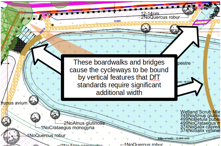 Boardwalks and Bridges Significantly Below DfT Shared Use Path Width Minimum Requirments