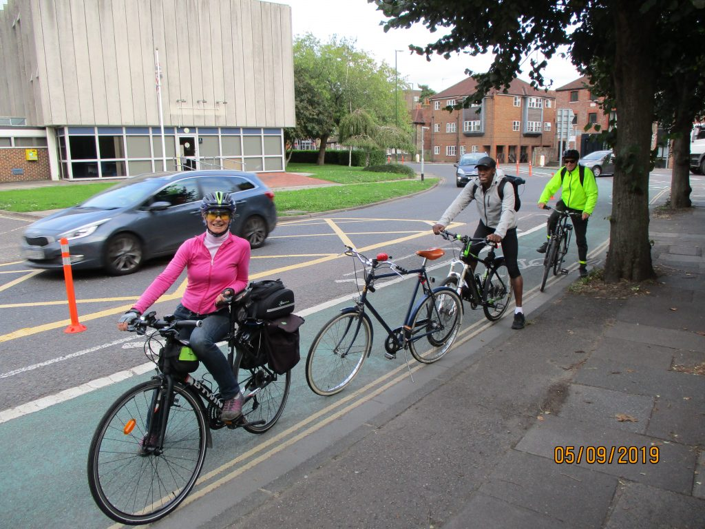 Andrew, Godfrey & Gabby on a Friday evening ride on the Pop-Up Cycle Lanes