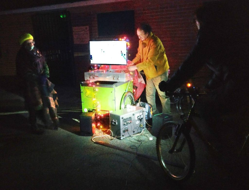 Sound, Vision and Christmas Lights Powered by Bike